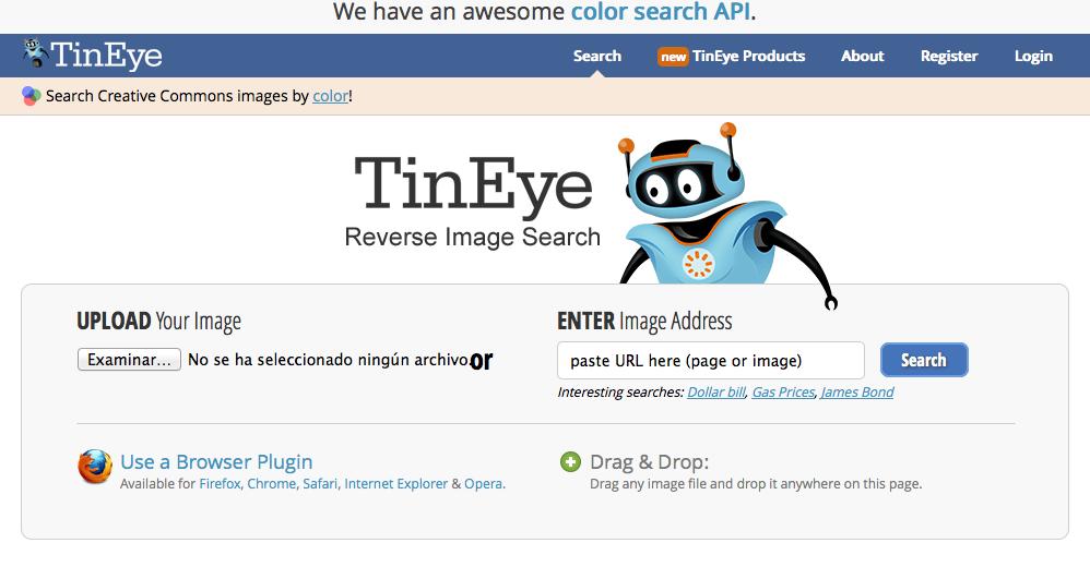 TinEye, una aplicación web que permite la búsqueda inversa de imágenes