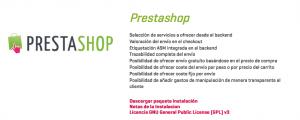 Impresión de pantalla del apartado de descargas de ASM eCommerce de Prestashop