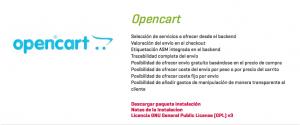 Impresión de pantalla del apartado de descargas de ASM eCommerce de Opencart