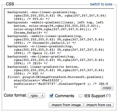 Input con el código CSS de vuestro gradiente y diferentes opciones más