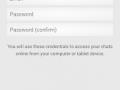 Pantalla de registro de la aplicación para enviar WhatsApp