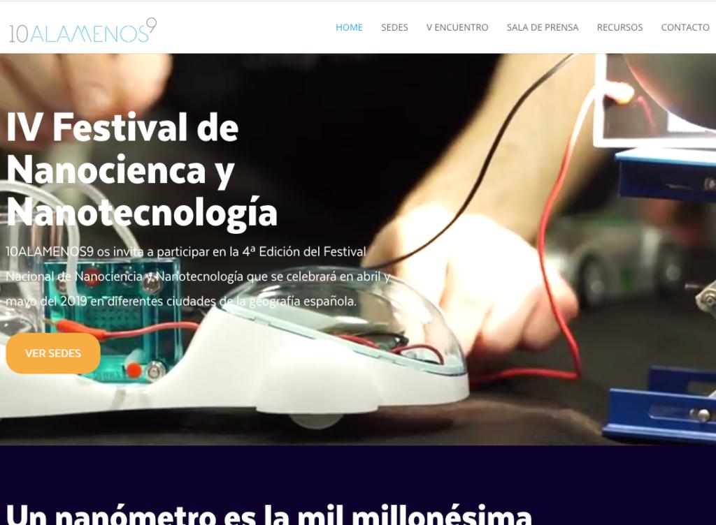 Portada de la web científica del Festival 10 a la menos 9