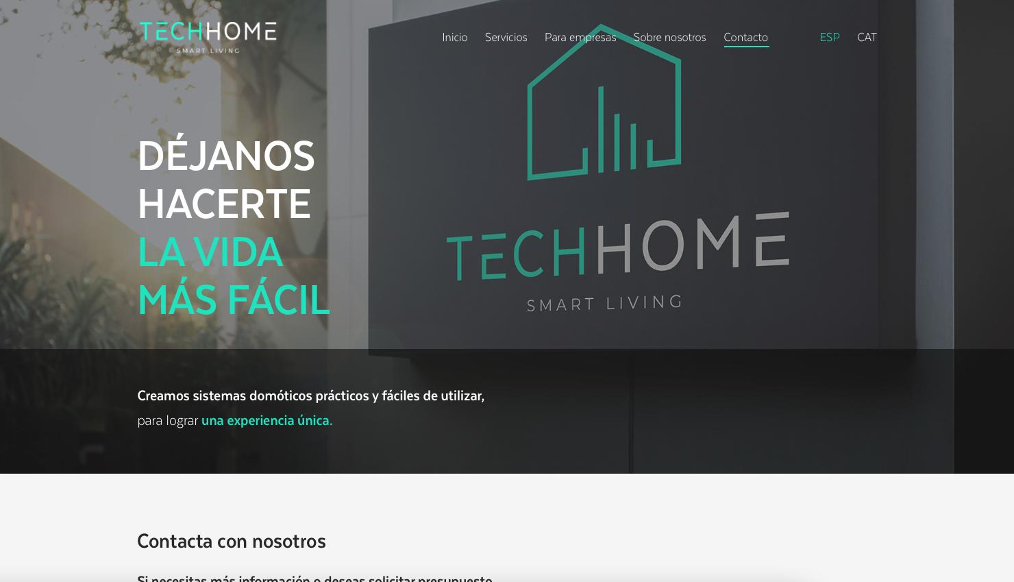 Diseño web hogares inteligentes: Techhome